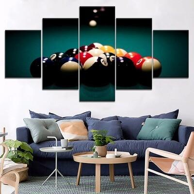 Billard Balls Sport Multi Canvas Print Wall Art