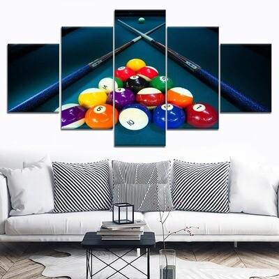Billiard Sport Color Balls And Cue Multi Canvas Print Wall Art