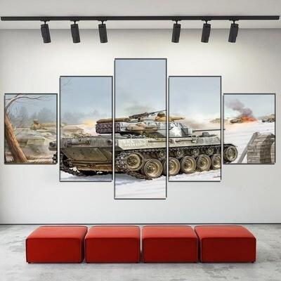 Battle Military Tank Multi Canvas Print Wall Art