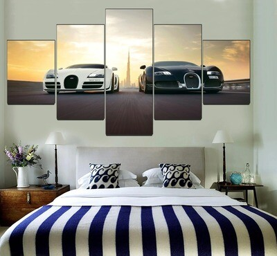 Black And White Bugatti Veyron Supercar Multi Canvas Print Wall Art