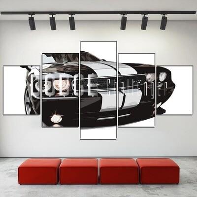 Black Car Dodge Challenger SRT8 Multi Canvas Print Wall Art