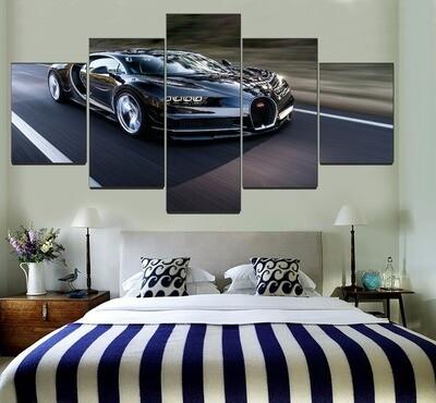 Black Supercar Bugatti Chiron Multi Canvas Print Wall Art
