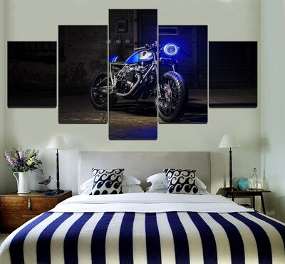Blue Black Vehicles Motorcycle Multi Canvas Print Wall Art