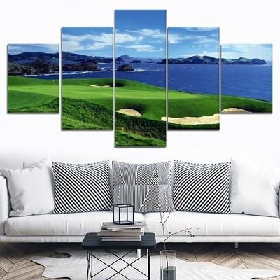 Blue Sky Blue Sea And Golf Lawn Multi Canvas Print Wall Art