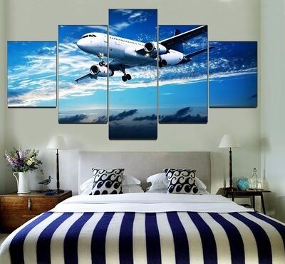 Blue Sky Landscape Aircraft Multi Canvas Print Wall Art