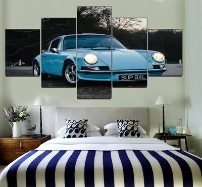 Blue Vintage Mini Car Multi Canvas Print Wall Art