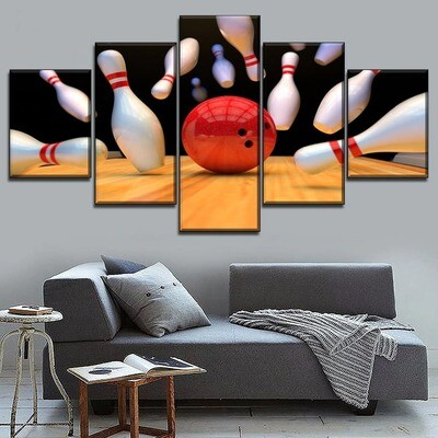 Break Up Bowling Multi Canvas Print Wall Art