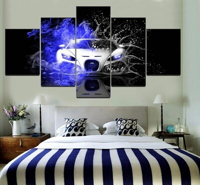 Bugatti Veyron Car Blue Fire And Water Multi Canvas Print Wall Art