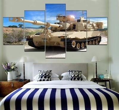 Bush Gun Tank War Multi Canvas Print Wall Art