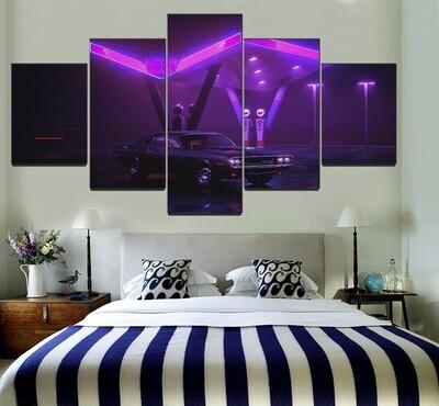 Car Purple Retro Wave Multi Canvas Print Wall Art