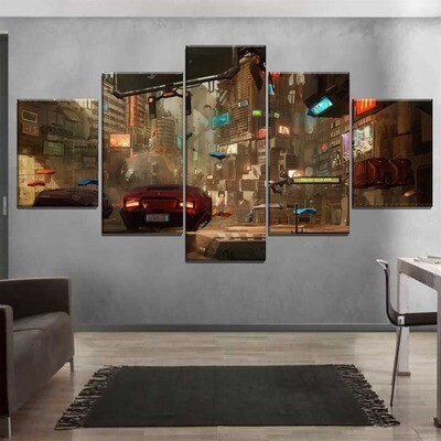 City And Vehicle Multi Canvas Print Wall Art