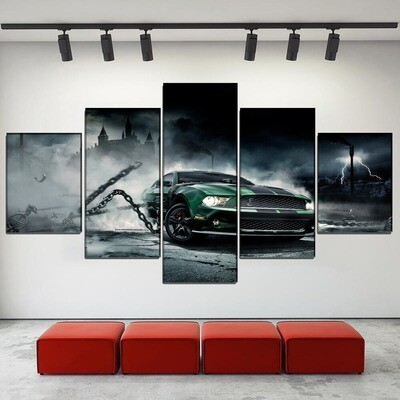 Castle Vehicles Ford Mustang Multi Canvas Print Wall Art
