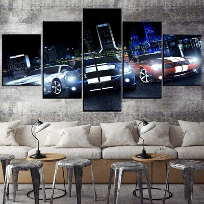 City In Night And Muscle Car Multi Canvas Print Wall Art