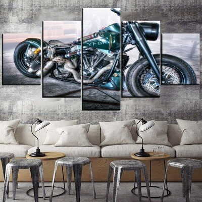 Classic Artistic Vehicles Motorcycle Multi Canvas Print Wall Art