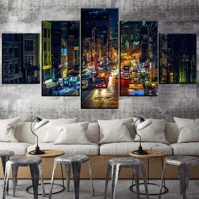 City Light Night Street Building Car Multi Canvas Print Wall Art