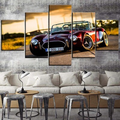 Classic Muscle Car Ford Hot Rod Multi Canvas Print Wall Art