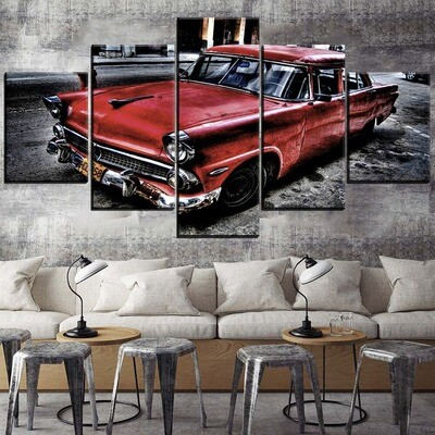 Classic Retro Red Vehicles Multi Canvas Print Wall Art