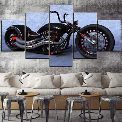 Classic Unique Motorcycle Multi Canvas Print Wall Art