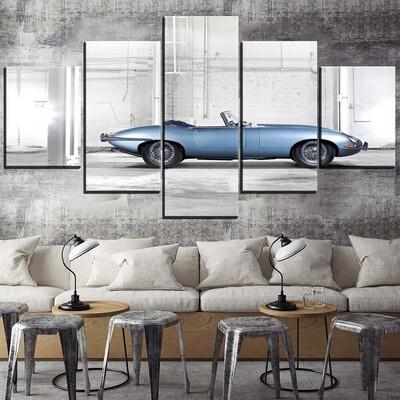 Classic Unique Shallow Blue Sport Car Multi Canvas Print Wall Art