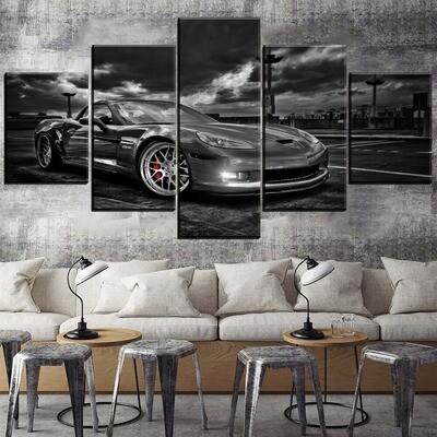Cloudy Sky Corvette Sport Car Multi Canvas Print Wall Art