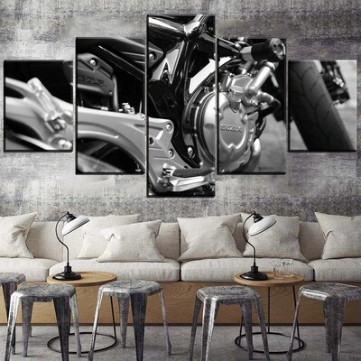 Close Up Motorcycle Engine Multi Canvas Print Wall Art