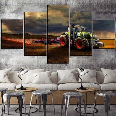 Cloud Field Tractor Vehicle Multi Canvas Print Wall Art