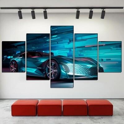Cool Concept Super Car Multi Canvas Print Wall Art