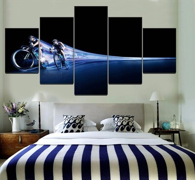 Combinatorial Art Bicycle Cycling Multi Canvas Print Wall Art
