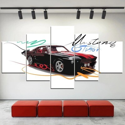 Colors Ford Mustang GT Car Multi Canvas Print Wall Art