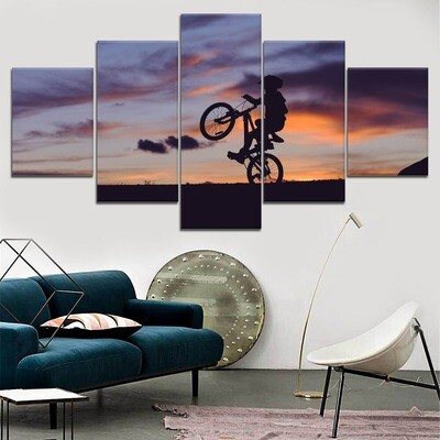 Cyclist Silhouette Sunset Multi Canvas Print Wall Art