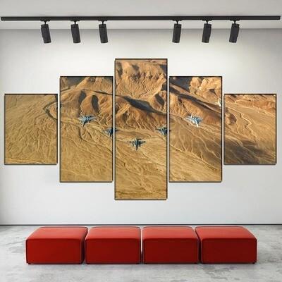 Desert Jet Fighter Multi Canvas Print Wall Art