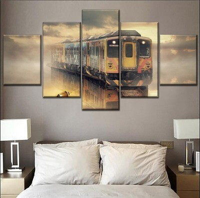 Dream Train In The Mist Multi Canvas Print Wall Art