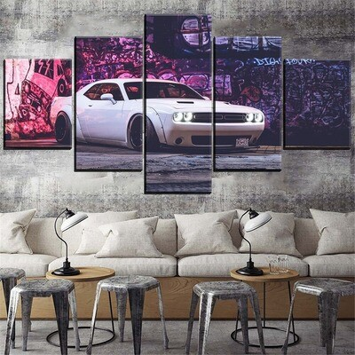 Dodge Challenger White Car Multi Canvas Print Wall Art
