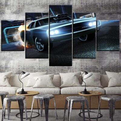 Dodge Charger Rocket League Car Multi Canvas Print Wall Art