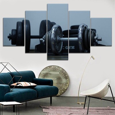 Dumbbells Gym Weight Disks Multi Canvas Print Wall Art