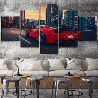 Dusk City And Red Sport Car Multi Canvas Print Wall Art