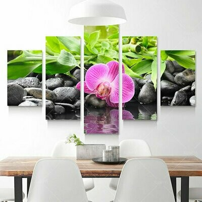 Stones Bamboo Orchid Flowers Multi Canvas Print Wall Art