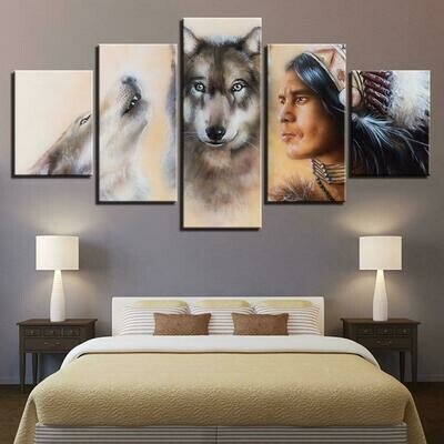 American Indian Native And Wolves - 5 Panel Canvas Print Wall Art Set