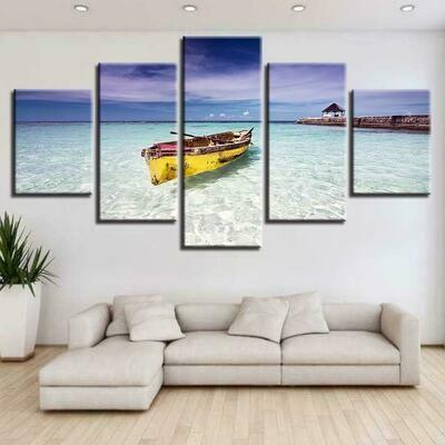 Beach Ocean And Boat - 5 Panel Canvas Print Wall Art Set