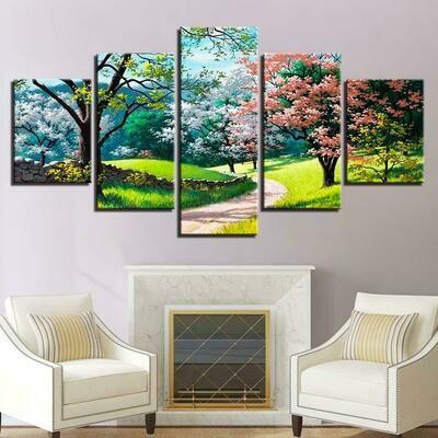 Flower Tree Spring - 5 Panel Canvas Print Wall Art Set