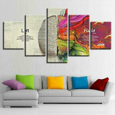 Abstract Color Brain Partition - 5 Panel Canvas Print Wall Art Set
