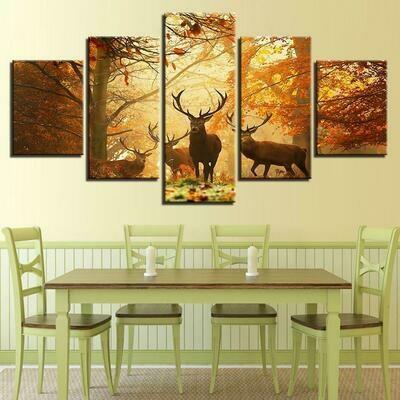 Autumn Forest Deers - 5 Panel Canvas Print Wall Art Set