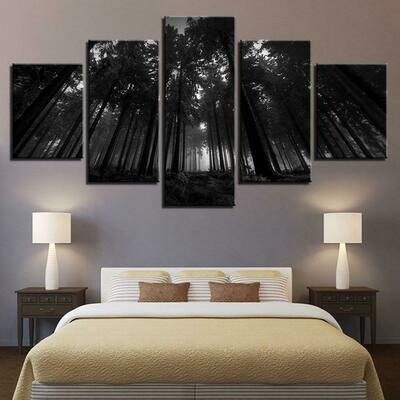 Black Forest Trees - 5 Panel Canvas Print Wall Art Set