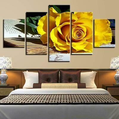 Fallen Yellow Rose - 5 Panel Canvas Print Wall Art Set