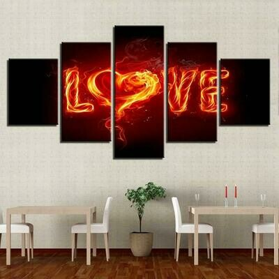 Fire Love - 5 Panel Canvas Print Wall Art Set