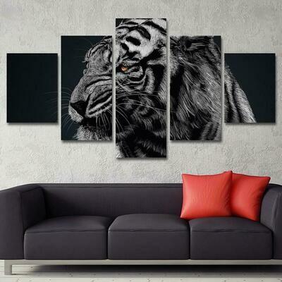 Animals Tiger Paintings - 5 Panel Canvas Print Wall Art Set