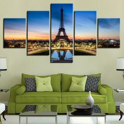 Eiffel Tower Lights - 5 Panel Canvas Print Wall Art Set