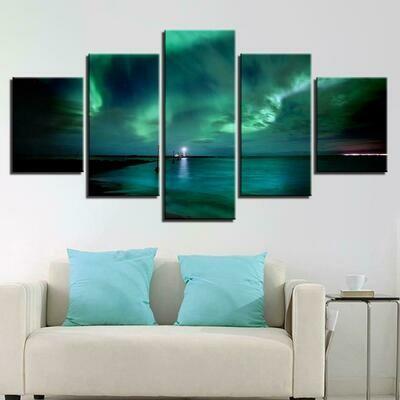 Green Aurora Lake Night - 5 Panel Canvas Print Wall Art Set