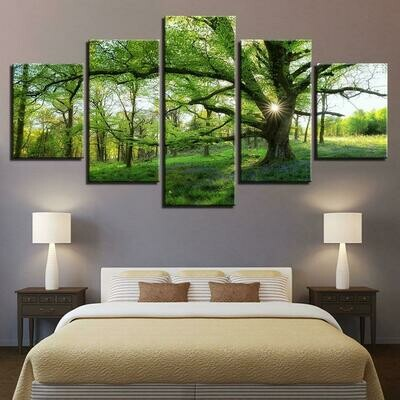 Green Trees Forest - 5 Panel Canvas Print Wall Art Set