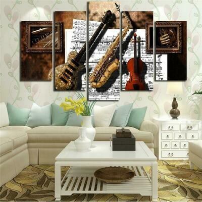 Guitar Saxophone Violin - 5 Panel Canvas Print Wall Art Set